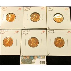 1962 P, 64 P, 69 S, 70 S LD, 71 S, & 73 S U.S. Proof Lincoln Cents.