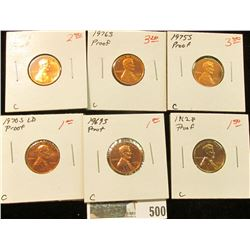 1962 P, 69 S, 70 S LD, 75 S 76 S, & 77 S U.S. Proof Lincoln Cents.