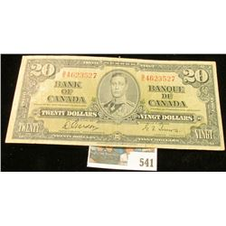 Jan., 1937 Bank of Canada Twenty Dollar Note, VF.