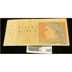 1949 Czechoslovakia 20 korun Banknote.