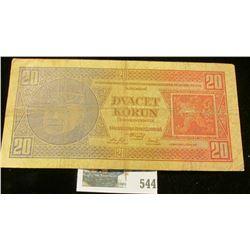 1925 Czechoslovakia 20 korun Banknote.