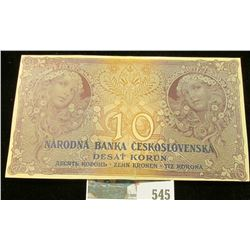 1927 Czechoslovakia 10 korun Banknote.