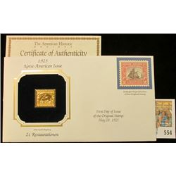 U.S.A. First day cover with gold replica 1925 Norse-American Issue stamp
