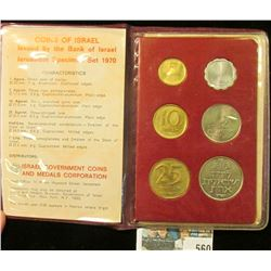 1970 Coins of Israel issued by the Bank of Israel Jerusalem Specimen Set in original holder. Gem BU.
