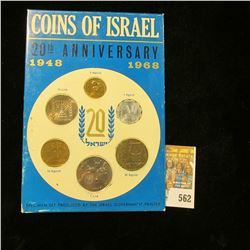 1948 1968 Coins of Israel 20th Anniversary Six-piece Coin set in original holder.
