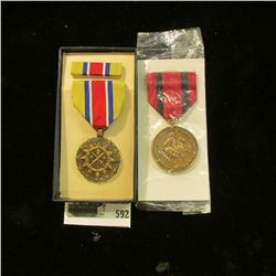 "(2) Military Medals, one still in box (Crossed Swords & torch) with bar, other states ""Indian Wars"","