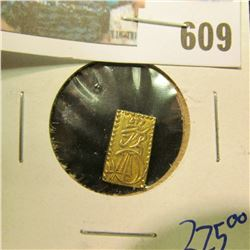 NISHU GIN GOLD BAR COIN. JAPAN. 2 SHU . SHOGUN TOKUGAWA IEYOSHI (1837-1853).  THIS COIN RETAILS BETW