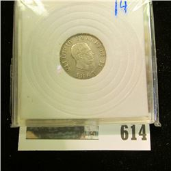 SILVER ITALIAN 50 CENTIMES COIN.  KM NUMBER 14.1.  THIS COIN BOOKS FOR $15 IN VERY FINE AND $60 IN E