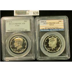 2005-S SILVER PROOF KENNEDY HALF DOLLAR GRADED PROOF 69 BY PCGS & 1976-S KENNEDY HALF DOLLAR GRADED