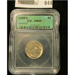 1938-D BUFFALO NICKEL GRADED MS 66 BY ICG