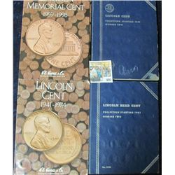 (3) SETS OF NUMBER TWO LINCOLN WHEAT CENT BOOKS WITH COINS PLUS LINCOLN MEMORIAL CENT BOOK WITH COIN
