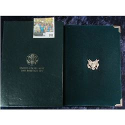 1990 PRESTIGE SET WITH PROOF SILVER IKE DOLLAR & PROOF SET ALL IN ONE