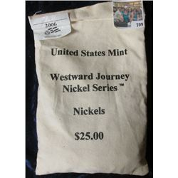 CANVAS MINT BAG WITH 500 NICKELS FROM THE 2006 WESTWARD JOURNEY NICKEL SERIES
