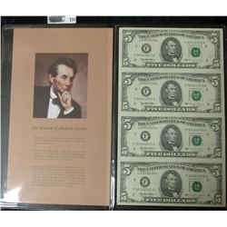 UNCUT SHEET OF FOUR FIVE DOLLAR BILLS SERIES 1995