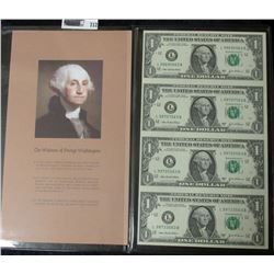 UNCUT SHEET OF FOUR 2003-A ONE DOLLAR NOTES