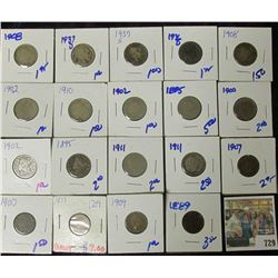 MIXED LOT OF V NICKELS, INDIAN HEAD CENTS, V NICKELS, & BETTER DATE 1873 INDIAN HEAD CENT