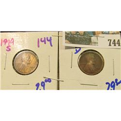 1914-S & 1922-D BETTER DATE WHEAT CENTS