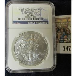 2014 AMERICAN SILVER EAGLE EARLY RELEASE GRADED MS 70 BY NGC