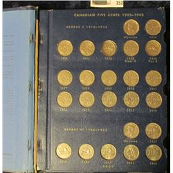 CANADIAN NICKEL COLLECTION STARTING AT 1923.  IT IS MISSING THE 1925 & THE 1926 FAR 6 NICKELS