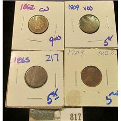 1909 WHEAT CENT, 1909-VDB WHEAT CENT, 1865 CIVIL WAR ERA INDIAN HEAD CENT, & 1862-CN INDIAN HEAD CEN