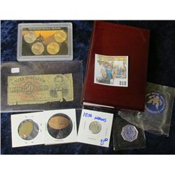 HODGEPODGE LOT INCLUDES WOODEN COIN SLAB HOLDER, REMEMBER PEARL HARBOR ELONGATED PENNY, SCHOOL CHECK