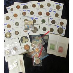 GRAB BAG OF COINS INCLUDES SOME SILVER, WHEAT CENTS, STAMPS, BUFFALO NICKELS, V NICKELS, COIN FROM T