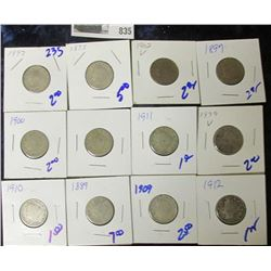 (12) V NICKELS ALL FOR ONE MONEY
