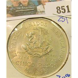 1953-MO SILVER MEXICAN 5 PESOS COIN