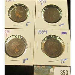 CANADIAN LARGE CENT LOT INCLUDES 1859, 1876-H, 1881-H, & 1882