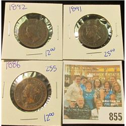 1886, 1892, & 1891 CANADIAN LARGE CENTS