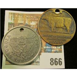 AMERICAN MILKING SHORTHORN SOCIETY MEMBERSHIP BADGE & 1918 WORLD WAR 1 VICTORY LIBERTY LOAN MEDAL CI