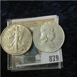 1945 P Walking Liberty Half Dollar, AU & 1952 D Franklin Half Dollar, AU.