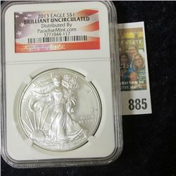 2013 BRILLIANT UNCIRCULATED AMERICAN SILVER EAGLE SLABBED BY NGC