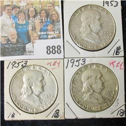(3) 1953 P EF-AU Franklin Half Dollar.