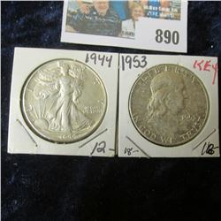 1944 P Walking Liberty Half Dollar, AU & 1953 P Franklin Half Dollar, EF.