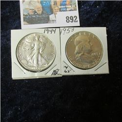 1944 P Walking Liberty Half Dollar, AU & 1953 P Franklin Half Dollar,Gem BU.