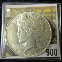 1927 D U.S. Peace Silver Dollar, AU.