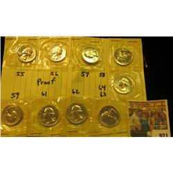 921 _ Partial Set of Proof Washington Quarters: 1955 P, 56 P, 57 P, 58 P, 59 P, 61 P, 62 P, 63 P, &