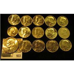 "923 _ 2012 D Grover Cleveland Presidential ""Golden"" Dollar, BU; 1974 D Eisenhower Dollar, Gem BU; (3"