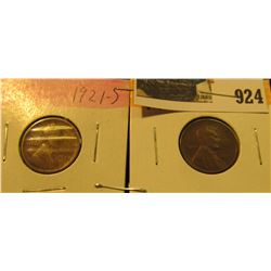 924 _ 1921 S & 22 D Lincoln Cents. Semi-key dates. Both VG.
