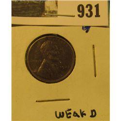 931 _ 1922 Weak D variety Lincoln Cent, Fine.