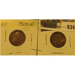 934 _ Pair of 1920 D Lincoln Cents, Both EF.