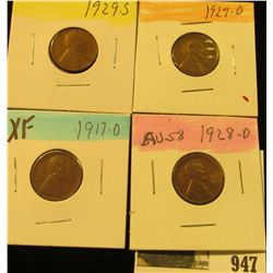 947 _ 1917D, 28D, 29D, & S Lincoln Cents, all Grading EF.
