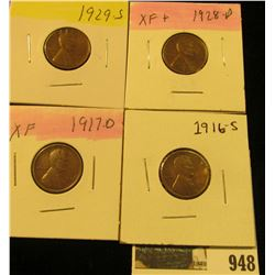 948 _ 1916S, 17D, 28D, & 29S Lincoln Cents, all Grading EF.