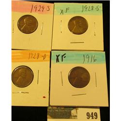 949 _ 1916P, 28D, 28S, & 29S Lincoln Cents, all Grading EF.