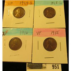 951 _ 1915P VF, 16P EF, 28S EF, & 29S EF Lincoln Cents.