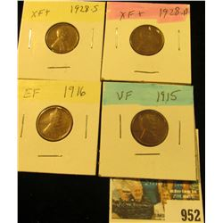 952 _ 1915P VF, 16P EF, 28D EF, & 28S EF Lincoln Cents.