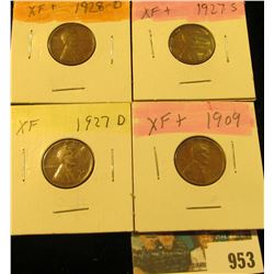 953 _ 1909 P, 27D, S, & 28D Lincoln Cents, all Grading EF.