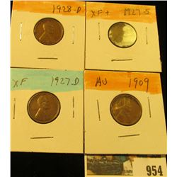 954 _ 1909 P, 27D, S, & 28D Lincoln Cents, all Grading EF.