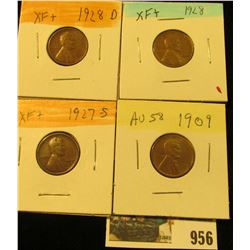 956 _ 1909 P, 27S, 28P & D Lincoln Cents, all Grading EF.